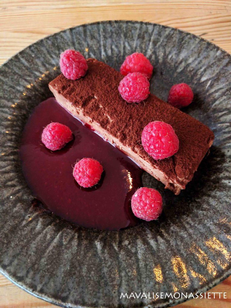 Parfait au chocolat et framboises sans gluten